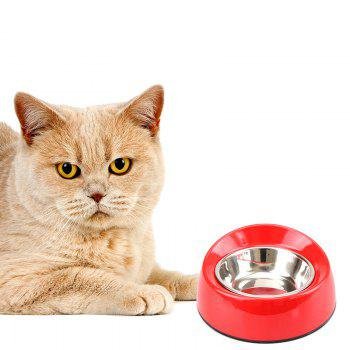 Non-skid Stainless Steel Melamine Plastic Pet Food Bowl - RED S
