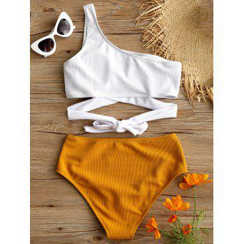 One Shoulder High Cut Two Tone Bikini - WHITE M
