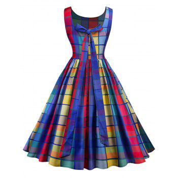 Vintage Checked Midi A Line Dress - COLORFUL L