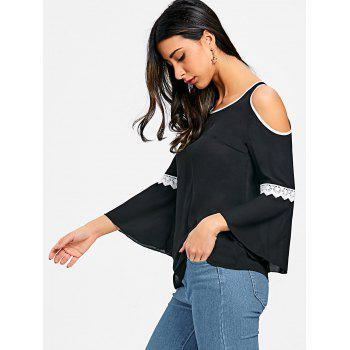 Flare Sleeve Cold Shoulder Blouse - BLACK 2XL