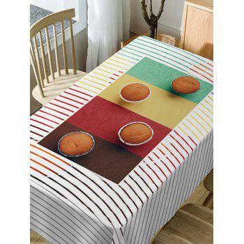 Cake Stripe Print Waterproof Table Cloth - COLORMIX W60 INCH * L84 INCH