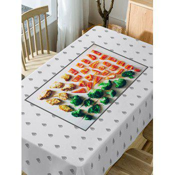 Foods and Water Drop Pattern Waterproof Table Cloth - COLORMIX W54 INCH * L54 INCH