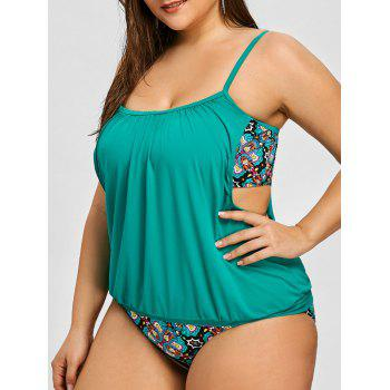 Plus Size Cutout Flower Tankini Set