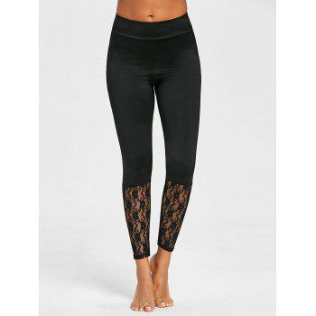Lace Trim Yoga Leggings - BLACK XL