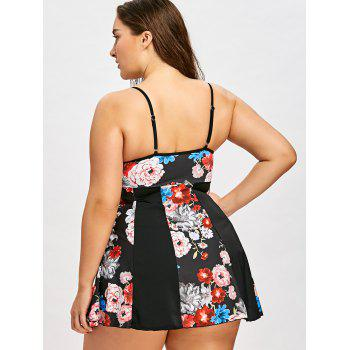 Plus Size Tiny Floral Empire Waist Tankini Set - BLACK 4XL