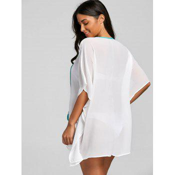 See Thru Chiffon Embroidered Cover Up - WHITE ONE SIZE