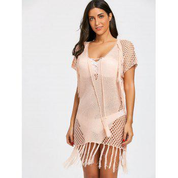 Plunge Crochet Knit Knit Cover Up Dress - Rose Clair ONE SIZE