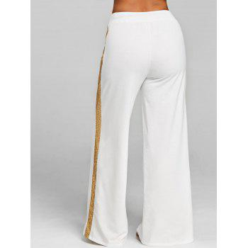 High Waist Sequin Wide Leg Pants - WHITE M
