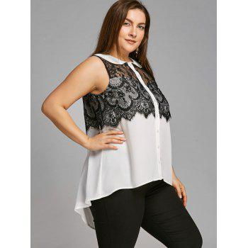 Plus Size Peter Pan Collar Lace Trim Sleeveless Blouse - WHITE/BLACK 2XL
