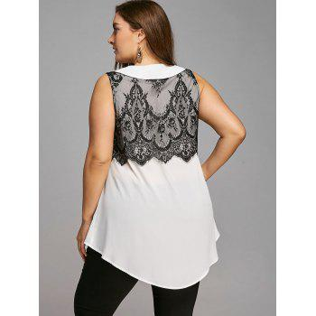 Plus Size Peter Pan Collar Lace Trim Sleeveless Blouse - WHITE/BLACK 5XL