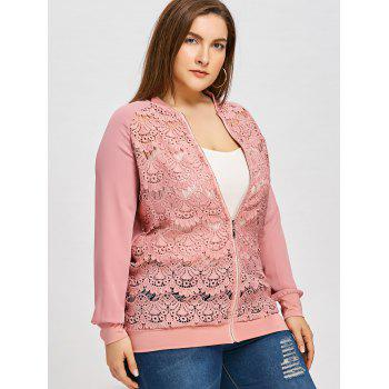 Semi Sheer Lace Front Plus Size Jacket - PINK XL