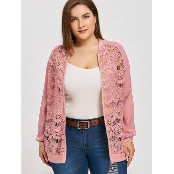 Semi Sheer Lace Front Plus Size Jacket - PINK 2XL