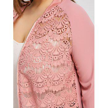 Semi Sheer Lace Front Plus Size Jacket - PINK 4XL