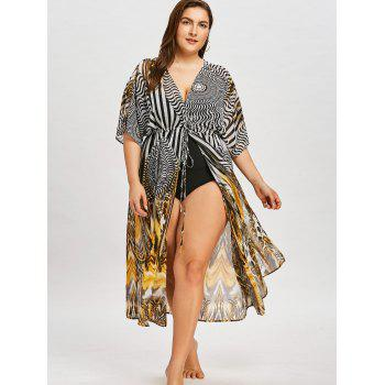 Plus Size Self Tie Graphic Maxi Cover Up - COLORMIX 3XL