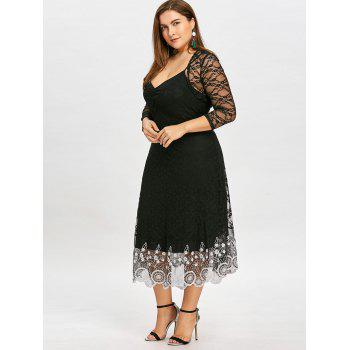 Plus Size Sheer Lace Slip Dress with Capelet - BLACK 3XL