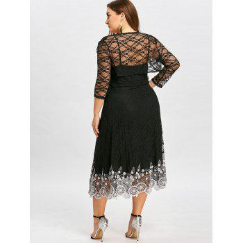 Plus Size Sheer Lace Slip Dress with Capelet - BLACK 5XL