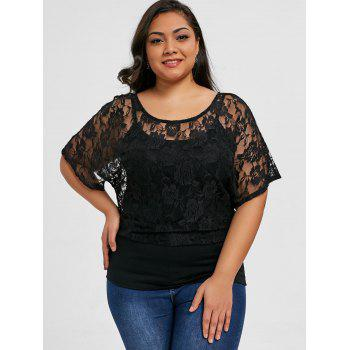 Plus Size Floral Lace Skew Collar T-shirt - BLACK XL