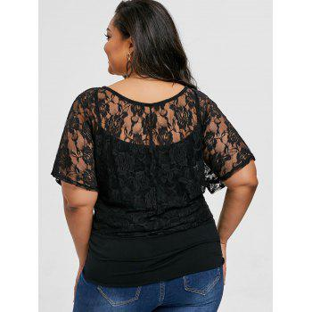 Plus Size Floral Lace Skew Collar T-shirt - BLACK 4XL