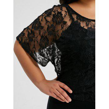 Plus Size Floral Lace Skew Collar T-shirt - BLACK 5XL