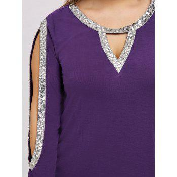 Plus Size Sequined Shoulder Cut T-shirt - PURPLE JAM 2XL