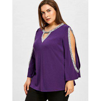 Plus Size Sequined Shoulder Cut T-shirt - PURPLE JAM 4XL