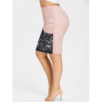 Plus Size Color Block Lace Fitted Skirt - COLORMIX 3XL