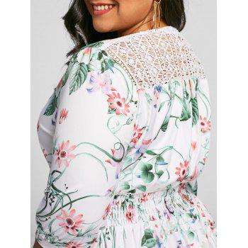 Plus Size Floral Front Slit Floor Length Dress - FLORAL 3XL