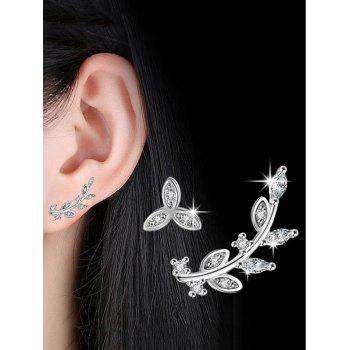 Rhinestone Alloy Asymmetric Leaf Earrings