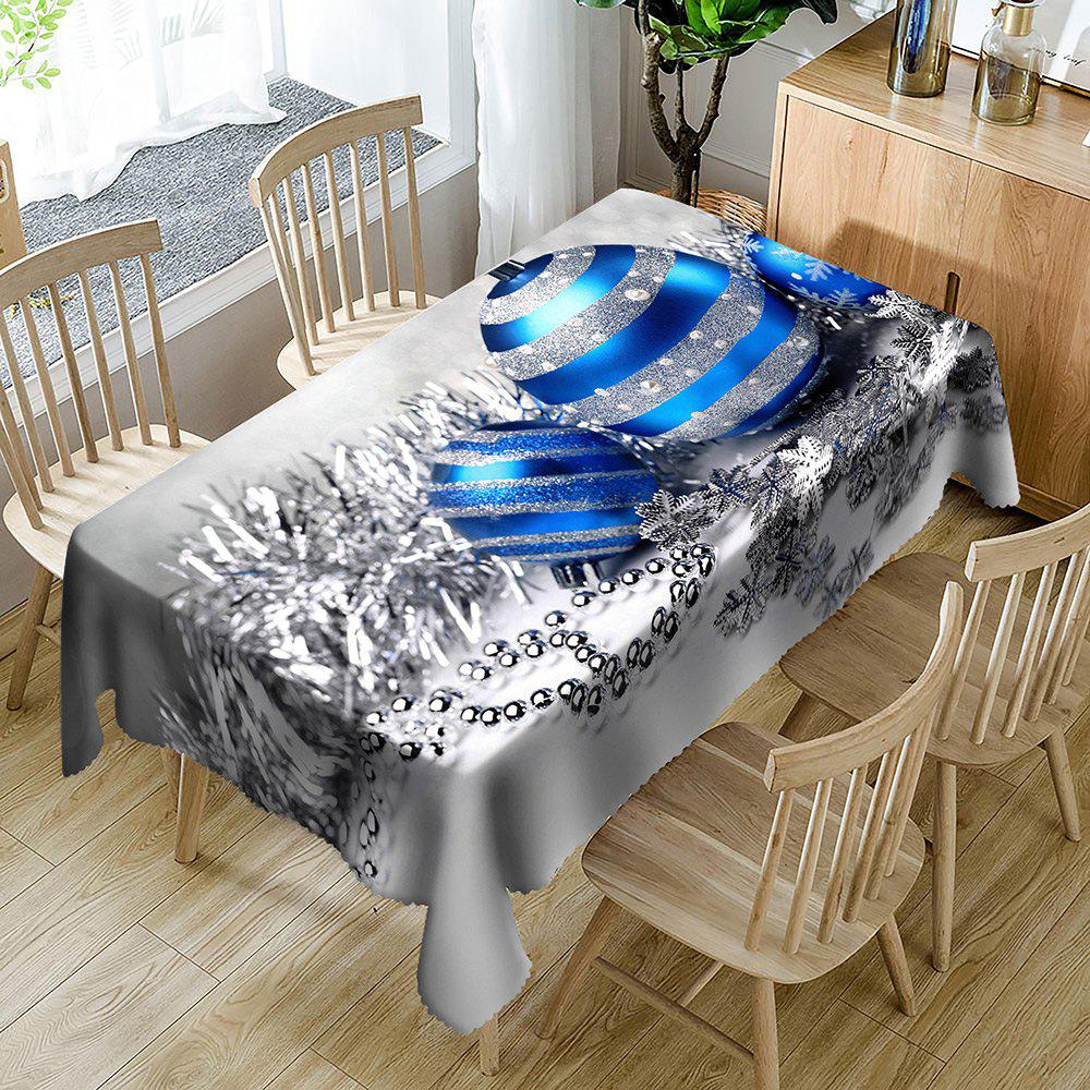 Christmas Balls Pattern Waterproof Table Cloth - SILVER W54 INCH * L72 INCH