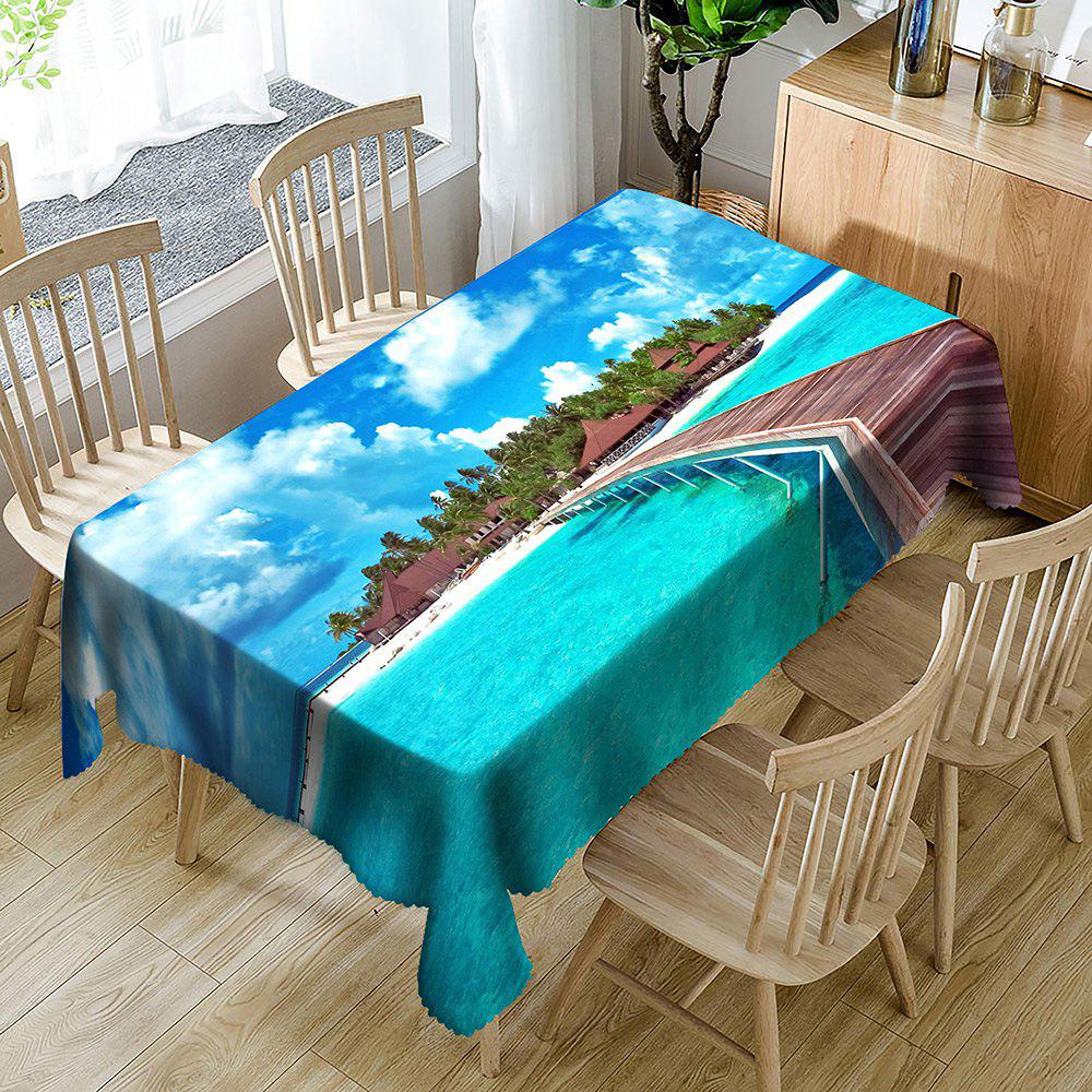 Seascape Print Waterproof Table Cloth - BLUE W54 INCH * L54 INCH