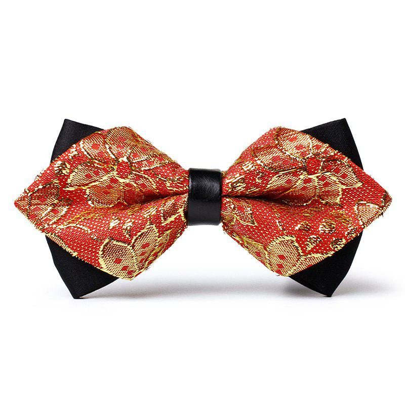 Floral Woven Pattern Silky Bow Tie - GOLD/RED