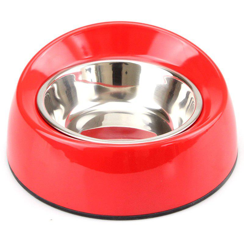 Non-skid Stainless Steel Melamine Plastic Pet Food Bowl - RED M