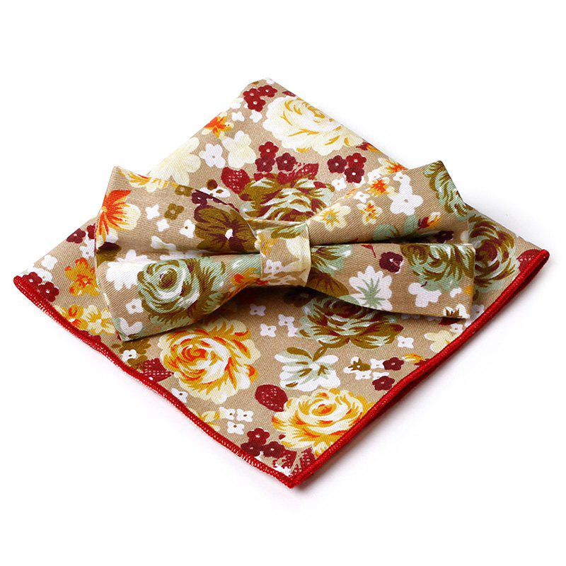 Blooming Flowers Pattern Bow Tie Handkerchief Set - DARK AUBURN