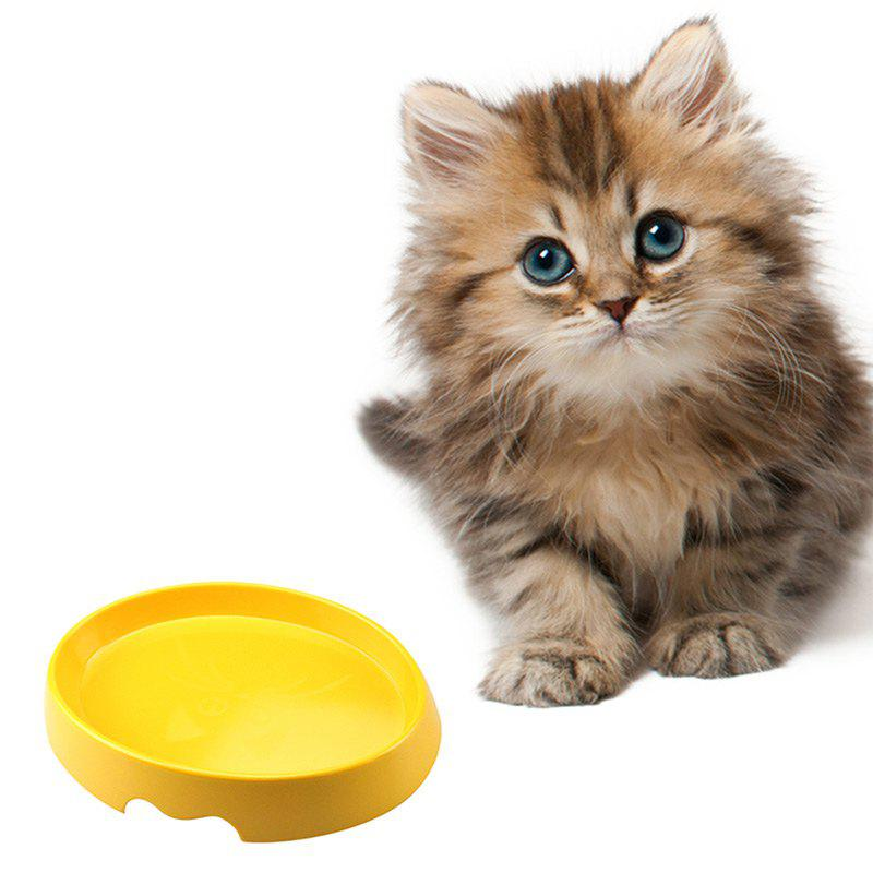 Simple Non-toxic Plastic Pet Food Water Bowl - YELLOW 20.32*15*4.8CM