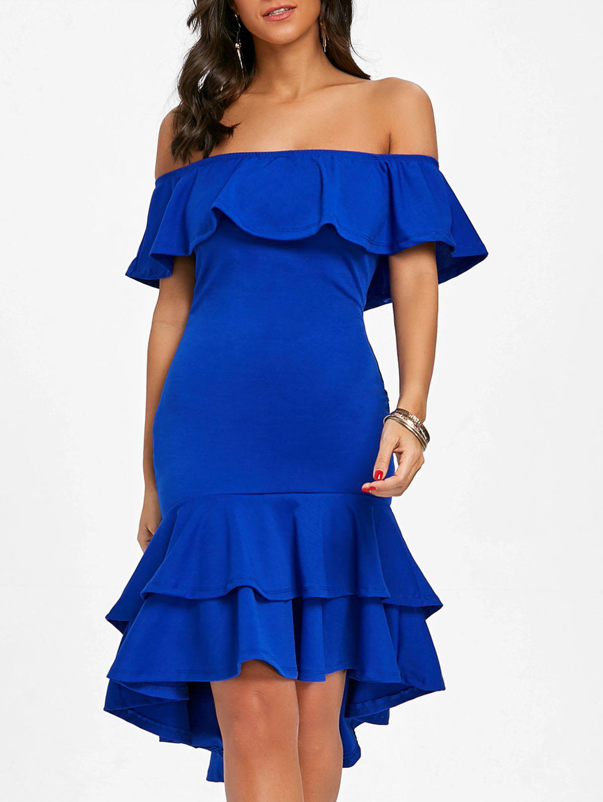 Off The Shoulder Ruffle Bodycon Dress - BLUE M