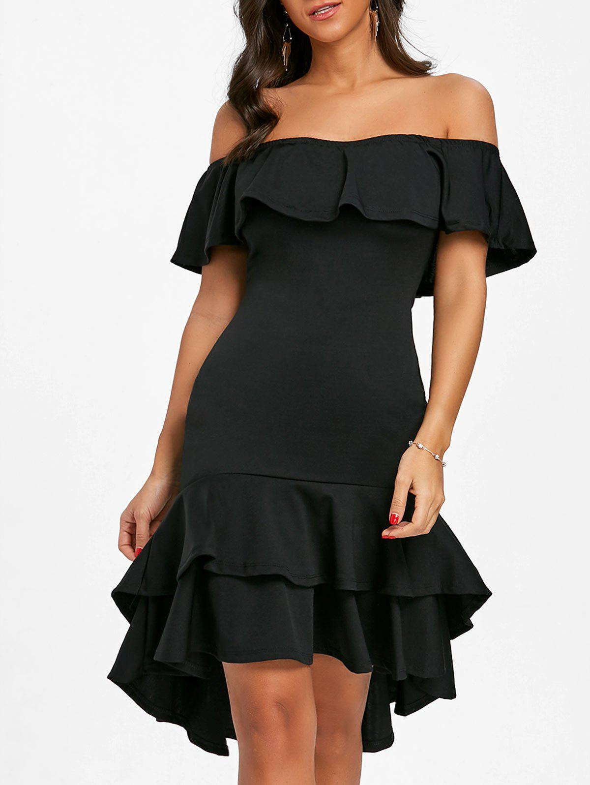 Off The Shoulder Ruffle Bodycon Dress - BLACK S