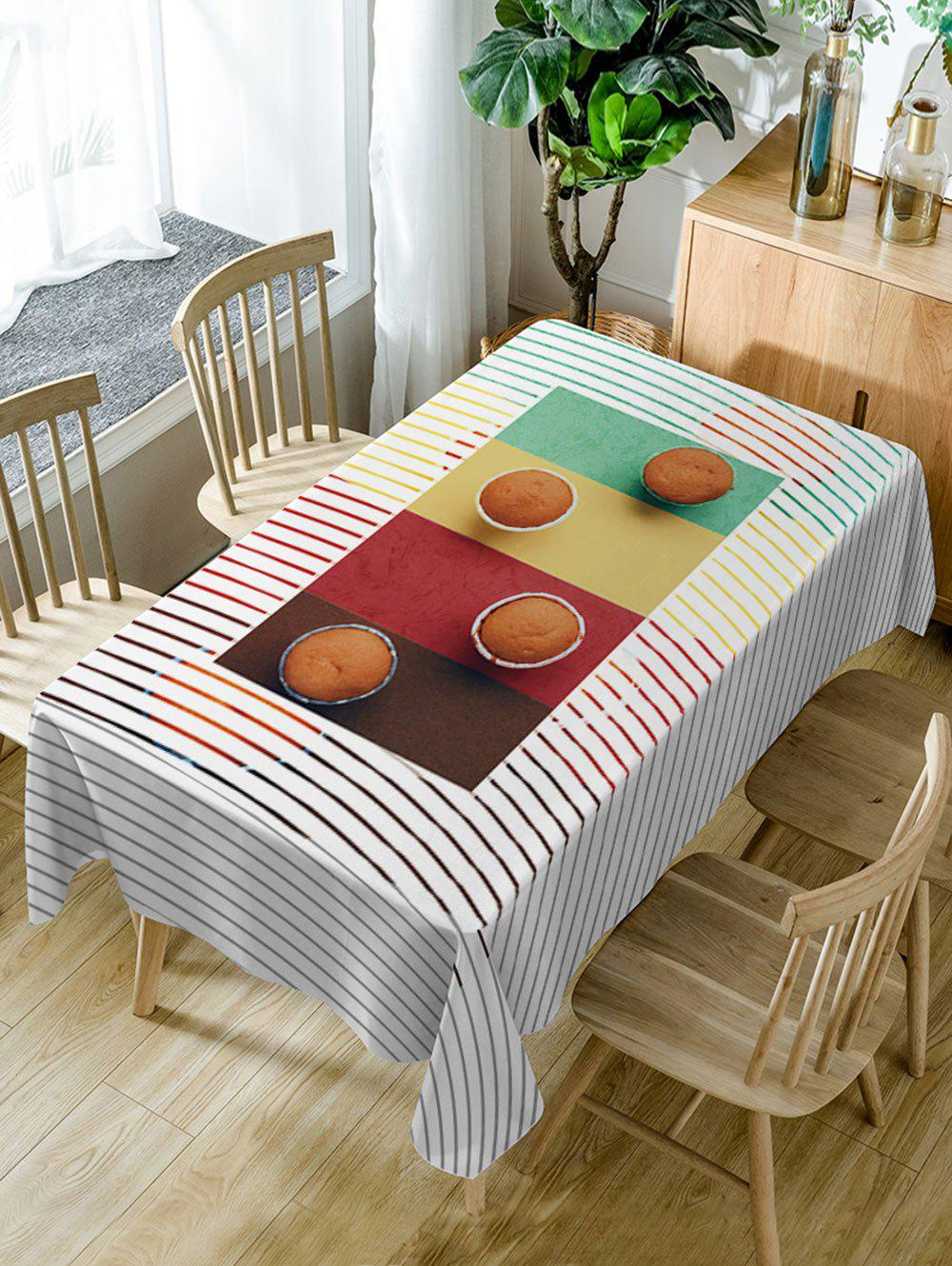 Cake Stripe Print Waterproof Table Cloth - COLORMIX W54 INCH * L72 INCH