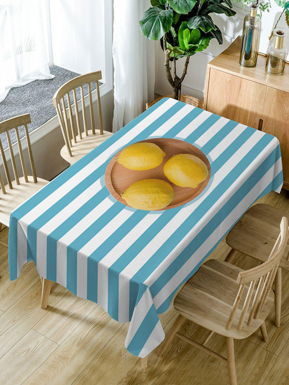 Lemon and Stripe Pattern Waterproof Table Cloth - LAKE BLUE W54 INCH * L72 INCH