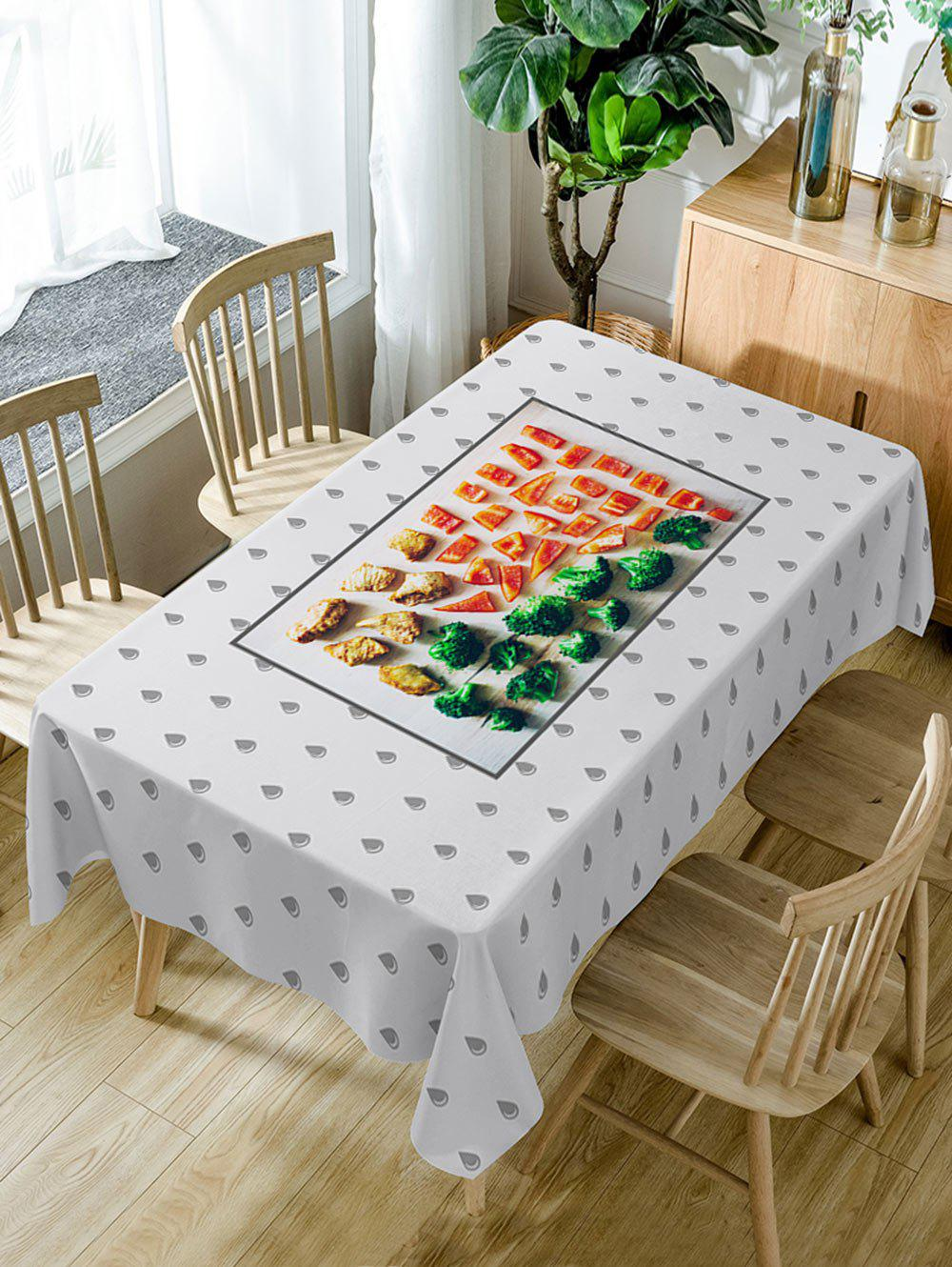 Foods and Water Drop Pattern Waterproof Table Cloth - COLORMIX W60 INCH * L84 INCH