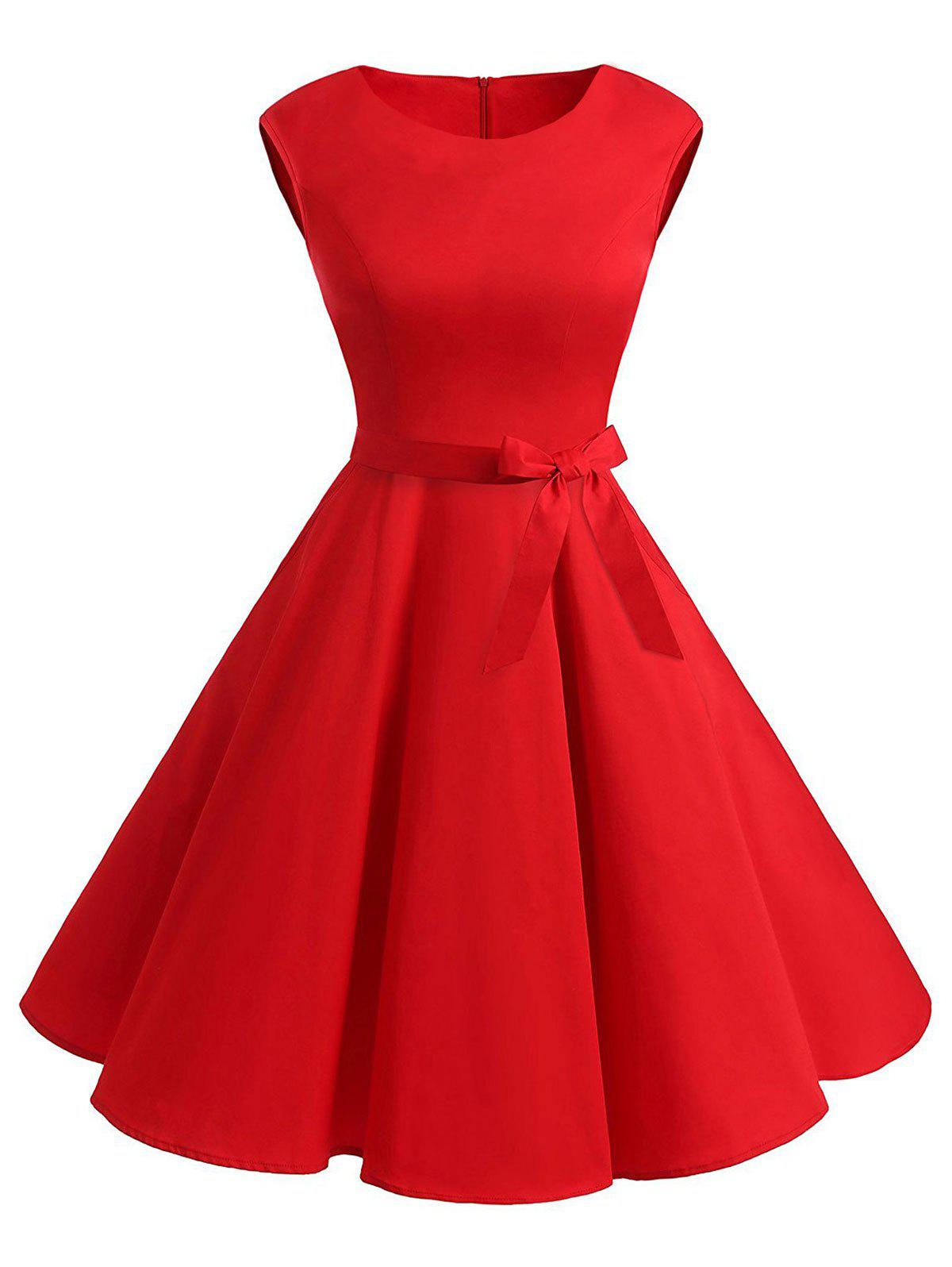 Retro Sleeveless Belted Skater Dress retro butterfly pattern skater dress