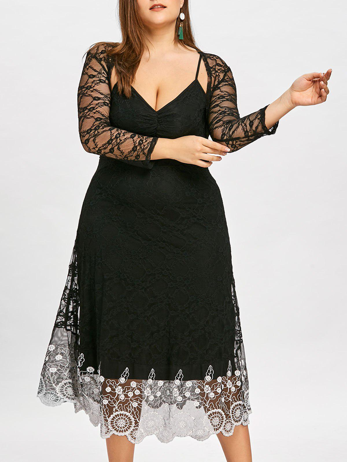 Plus Size Sheer Lace Slip Dress with Capelet - BLACK XL
