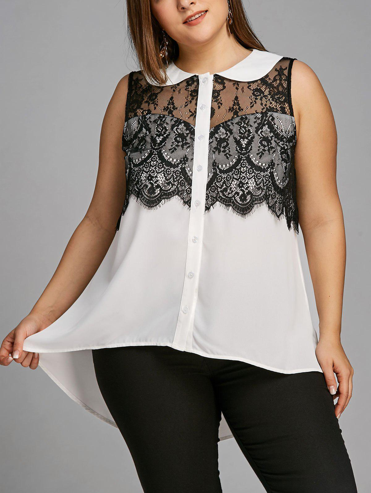 Plus Size Peter Pan Collar Lace Trim Sleeveless Blouse - WHITE/BLACK XL