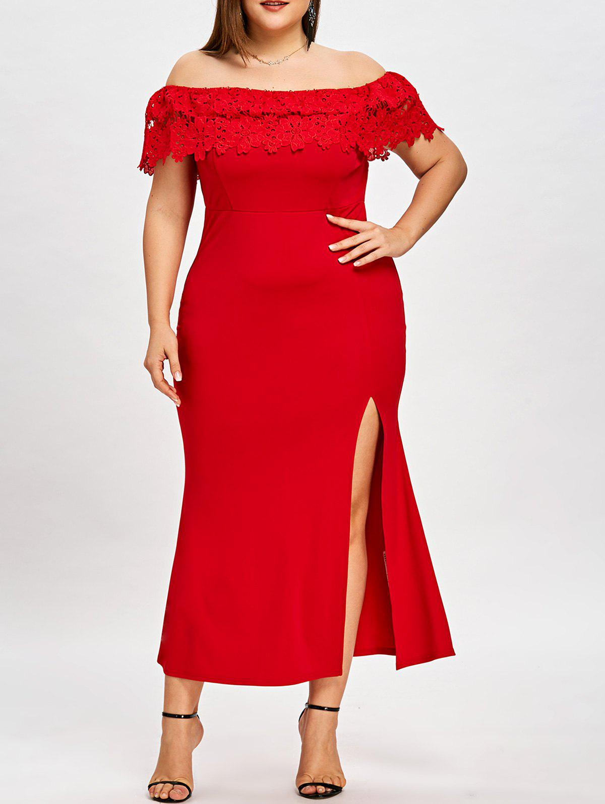 Plus Size High Split Prom Dress - RED 2XL