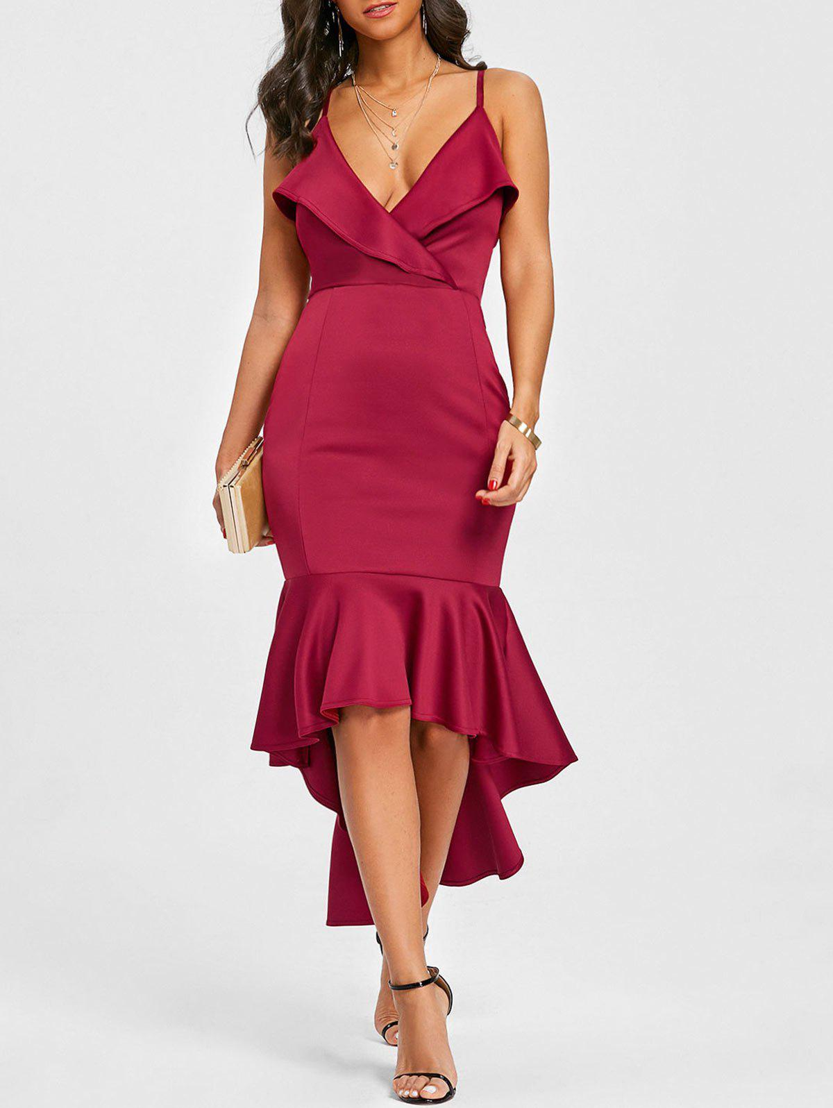 Cami Strap Flounce High Low Mermaid Dress - BURGUNDY S