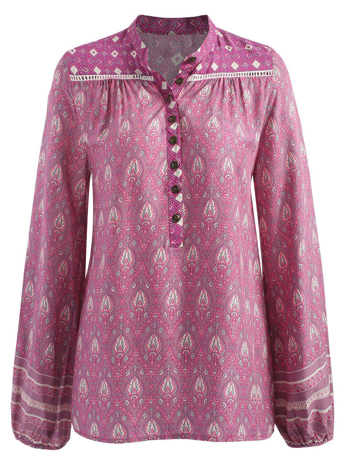 Bohemian Baroque Printed Blouse - PINK S