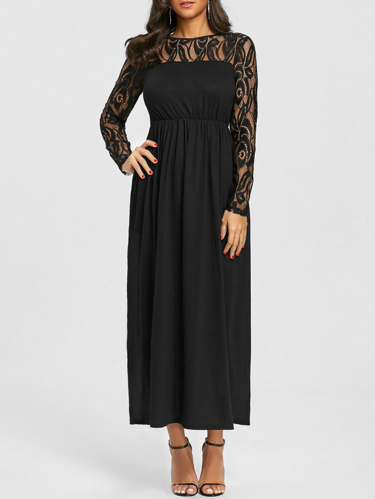 Lace Panel Empire Waist Dress - BLACK XL