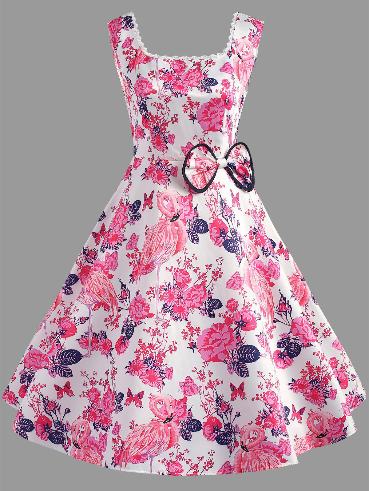 Flamingo Print Bowknot Embellished Dress - DEEP PINK 2XL