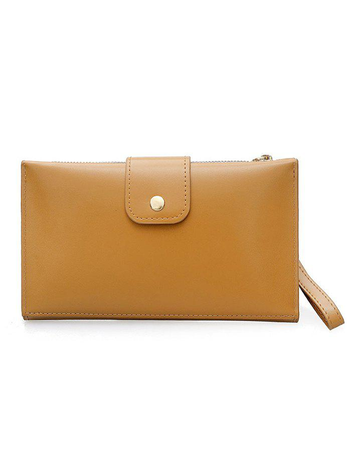 PU Leather Hasp Folded Pure Color Clutch - BROWN