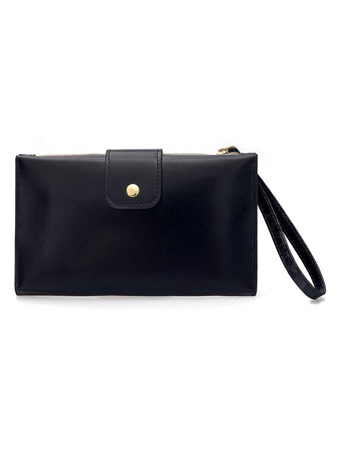 PU Leather Hasp Folded Pure Color Clutch - BLACK