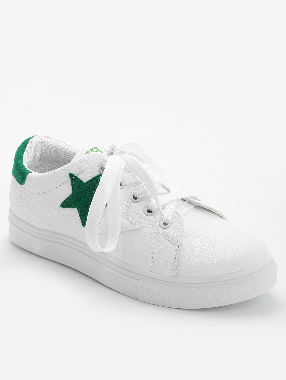 Contrasting Color Pentagram Skate Shoes - GREEN 38